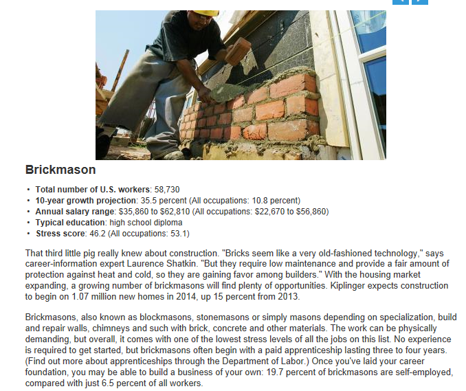 Bricklayer-mason 1 of 5 best jobs for the future